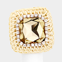 Square Crystal Rhinestone Trimmed Weave Ring