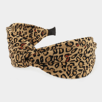 Wide Leopard Pattern Fabric Knotted Headband