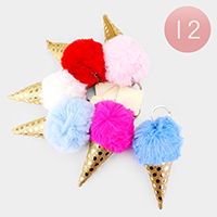 12PCS - Shimmery Ice Cream Cone Pom Pom Key Chains