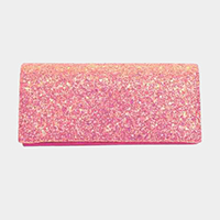 Glitter Rectangle Evening Clutch Bag With Metal Chain Strap