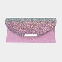 Glitter Envelop Evening Clutch Bag With Metal Chain Strap