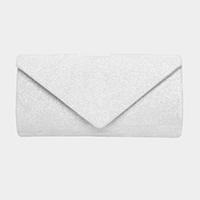 Shimmery Envelop Evening Clutch Bag With Metal Chain Strap