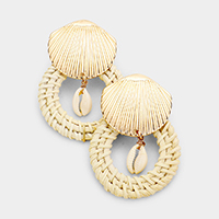 Cut Out Round Woven Straw Puka Shell Post Earrings