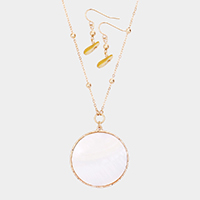 Round Mother of Pearl Pendant Long Necklace