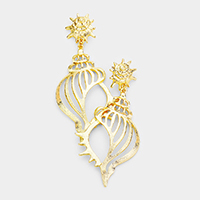 Filigree Metal Conch Shell Earrings