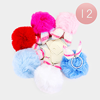 12PCS - Shimmery Bunny Ears Pom Pom Key Chains