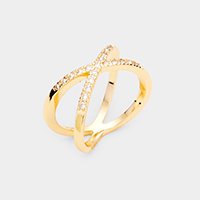 Gold Plated Cubic Zirconia Metal Crisscross Ring