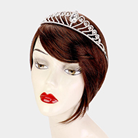 Crystal Teardrop Rhinestone Pave Pageant Queen Tiara
