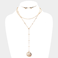 Crystal Embellished Shell Pendant Y Necklace