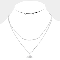 Crystal Embellished Whale Tail Layered Necklace