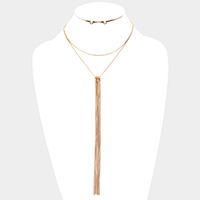 Long Metal Chain Tassel Double Layered Necklace