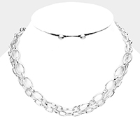Metal Link Double Layered Necklace