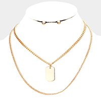 Metal Military ID Pendant Double Layered Necklace