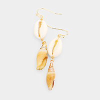Gold Painted Puka Conch Shell Dangle Earrings