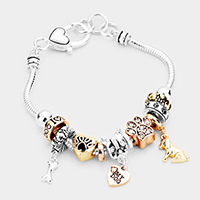 'My Dog' Heart Charm Multi Bead Charm Bracelet