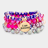 4PCS - 'I Am Blessed' Semi Precious Stretch Bracelets