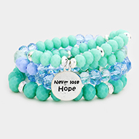 4PCS - 'Never Loose Hope' Semi Precious Stretch Bracelets