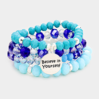 4PCS - 'Believe In Yourself' Semi Precious Stretch Bracelets