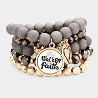 5PCS - 'Walk By Faith' Semi Precious Beaded Stretch Bracelets