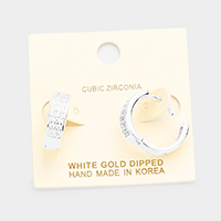 White Gold Dipped Cubic Zirconia Huggie Earrings