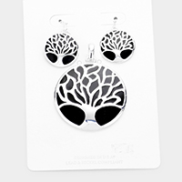 Round Enamel Tree of Life Pendant Set