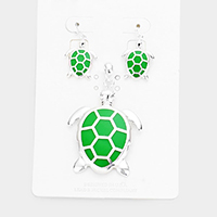 Enamel Turtle Pendant Set