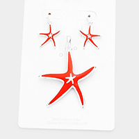 Enamel Starfish Pendant Set