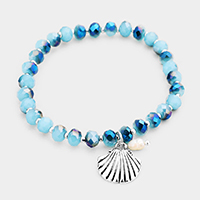 Shell Pearl Charm Beaded Stretch Bracelet