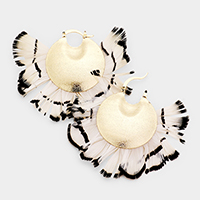 Feather Round Metal Pin Catch Earrings
