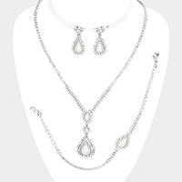 3PCS -  Teardrop Pearl Rhinestone Necklace Jewelry Set