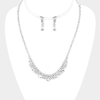 Teardrop Stone Accented Rhinestone Necklace