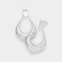 Embossed Metal Clip on Earrings