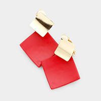 Colored Metal Square Clip on Earrings