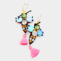 Crystal Round Sequin Dragonfly Tassel Pin Catch Earrings