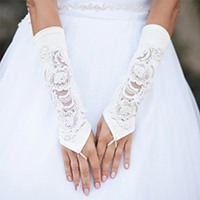 Satin Bridal Fingerless Gloves With Floral Lace