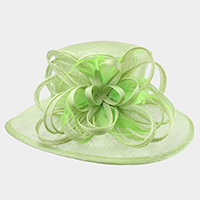 Loop Feathered Medium Brim Sinamay Hat With Adjustable Band