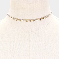 Metal Disc Beaded Choker Necklace