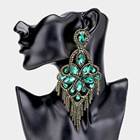 Oversized Crystal Flower Chandelier Evening Earrings