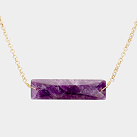 Natural Stone Rectangle Pendant Necklace