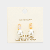 Gold Dipped Cubic Zirconia Pearl Earrings