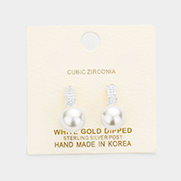 White Gold Dipped Cubic Zirconia Pearl Earrings