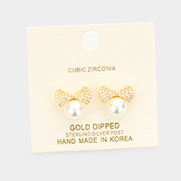Gold Dipped Cubic Zirconia Bow  Pearl Earrings