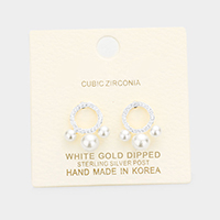 White Gold Dipped Cubic Zirconia Triple Pearl Earrings