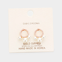 Gold Dipped Cubic Zirconia Triple Pearl Earrings
