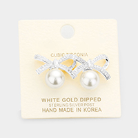 White Gold Dipped Cubic Zirconia Bow Pearl Earrings