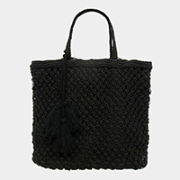Woven Fishnet Tote Bag With Tassel