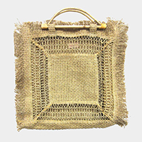 Woven Wood Handle Tote Bag