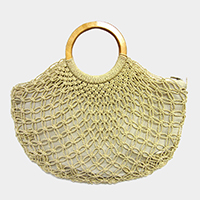 Woven Fishnet Wood Handle Tote Bag