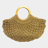 Woven Fishnet Round Wood Handle Tote Bag