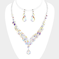 Pave Crystal Rhinestone Marquise Cluster Necklace